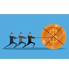 Teamwork men money cooperation investment vector