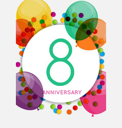 Template 8 years anniversary congratulations vector