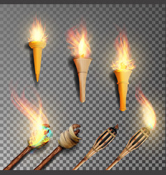 Torch with flame realistic fire realistic fire vector