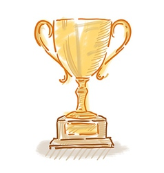 Trophy cup colorful sketch vector image