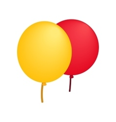 Yellow red balloons isometric 3d icon vector image vector image