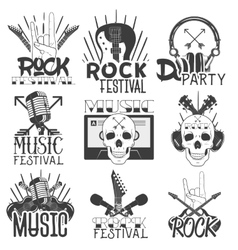 Monochrome set of music theme emblems vector