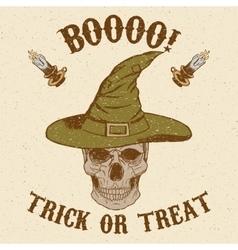 Halloween Skull in hat vector image