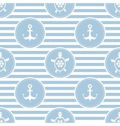 Seamless nautical pattern with turtles and anchors vector