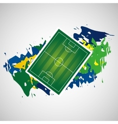 Field soccer olympic games brazilian flag colors vector