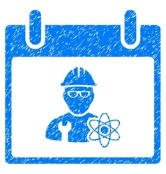 Atomic engineer calendar day grainy texture icon vector
