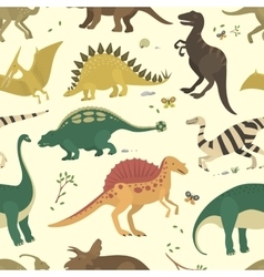 Dinosaur vintage color seamless pattern vector