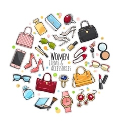 Set of different women items and accessories vector