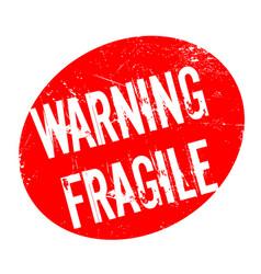 Warning fragile rubber stamp vector