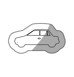 Monochrome contour sticker with automobile of side vector