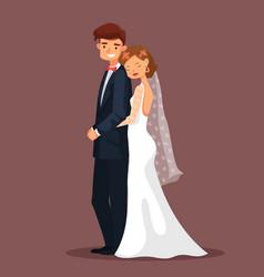 Man and woman bride and husband hug at wedding vector