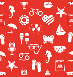 July month theme set of simple icons red seamless vector