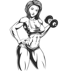 Beautiful girl with dumbbells vector