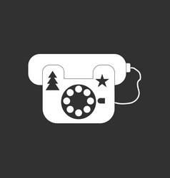 white icon on black background landline phone vector image