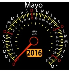 2016 year calendar speedometer car in Spanish May vector image vector image