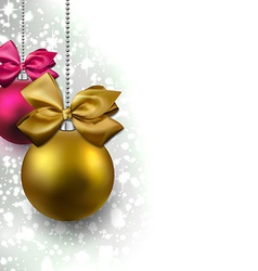 Glitter christmas background with balls vector image