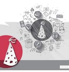 Hand drawn cap icons with icons background vector image