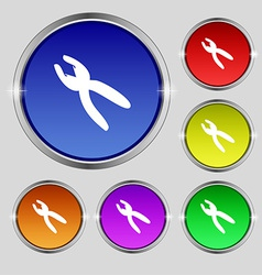 Pliers icon sign round symbol on bright colourful vector