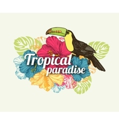 Tropical summer typographical background with hand vector