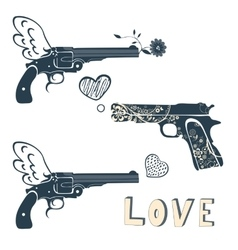 Love guns set Vintage emblems with gun shooting a vector image