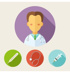 Set of flat style icons doctor vector