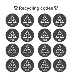 Recycling codes packing material vector