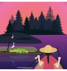 Woman riding canoe kayak small boat meet crocodile vector