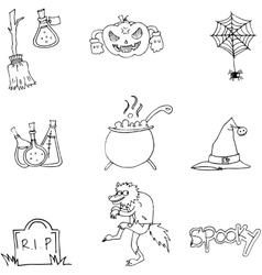 Element halloween and monster in doodle vector