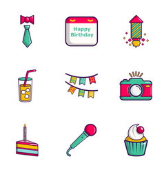 Birthday entertainment icons set flat style vector