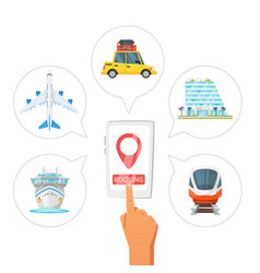 Booking transport and hotel vector