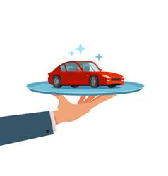 Car vehicle on tray dealership dealer vector