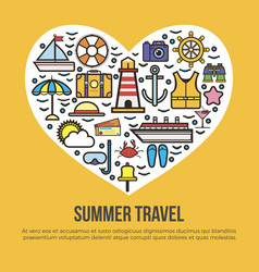 Cruise set summer travel in shape of heart on vector