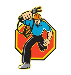 Electrician Worker Running Electrical Plug vector image vector image