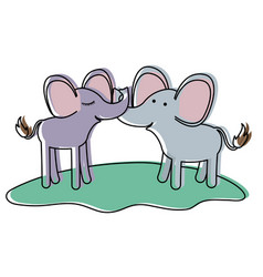 Elephants couple over grass in watercolor vector
