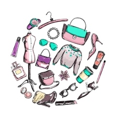 Fashion clothes round composition vector