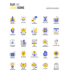 flat line multicolor icons design-marketing and vector image