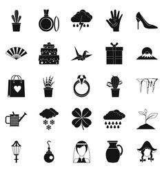Flower scent icons set simple style vector