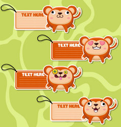 Four cute cartoon Monkeys stickers vector image