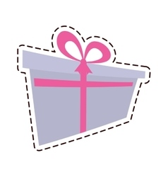 Gift box ribbon birthday event color cut line vector