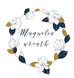 graphic magnolia wreath in deep blue and bronze vector image vector image