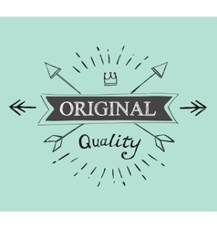 hand lettered catchword vintage tag vector image vector image