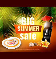 Hawaiian summer sale poster vector