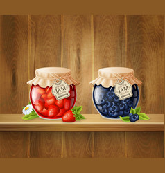 Jars with jam on wooden shelf vector
