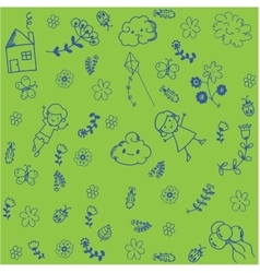 Kids playing in garden doodle art vector