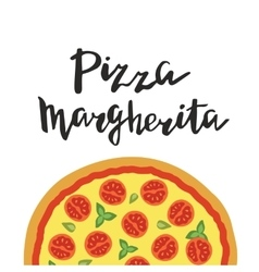 Margherita pizza and hand vector