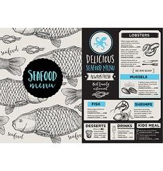 Menu seafood restaurant template placemat vector