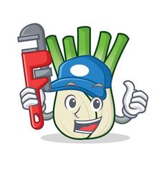 Plumber fennel mascot cartoon style vector