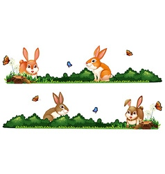 Rabbits being happy in the garden vector