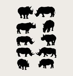Rhinoceros silhouettes vector