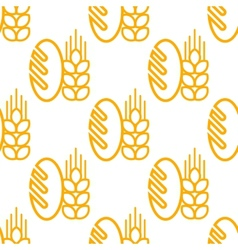Seamless pattern of bread and bakery symbol vector